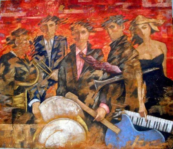 """Musicisti"" affresco su tavola cm. 140x120"
