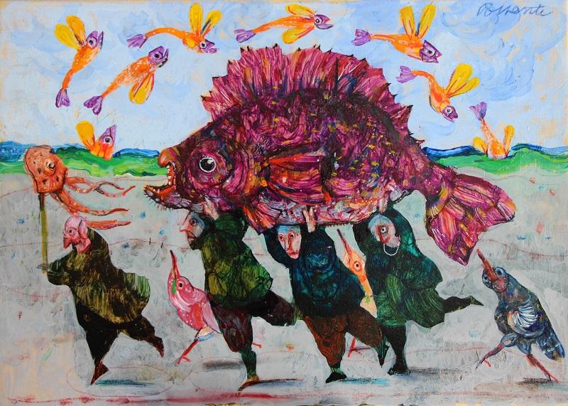 """4 pescatori"" olio su tavola cm. 35x25"