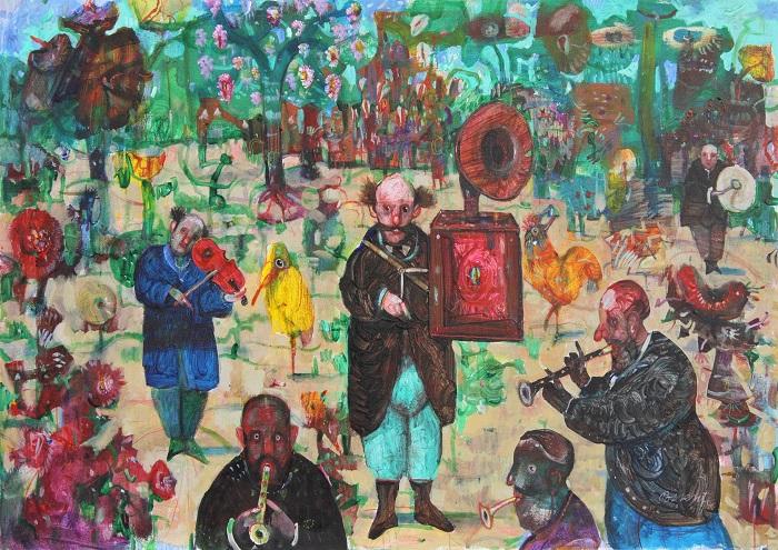 """""""6 musicisti in giardino"""" olio su cartone telato cm. 50x70"""