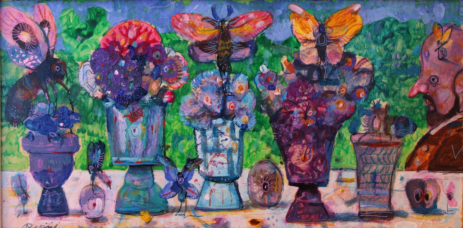 """""""In giardino"""" dipinto su tavola cm. 20x40"""