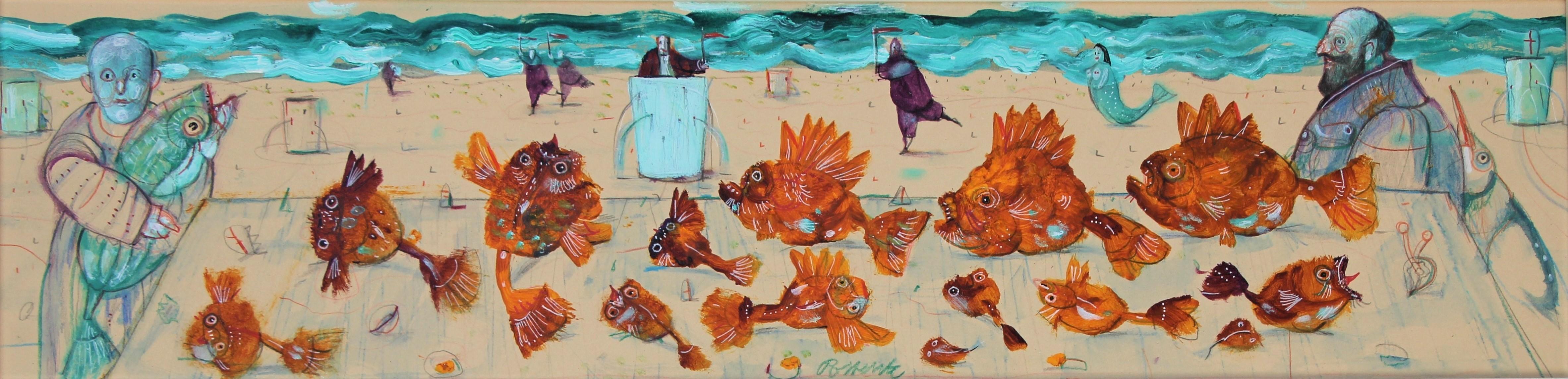 """""""I pesci gialli"""" tecnica mista su cartone cm. 80x20"""