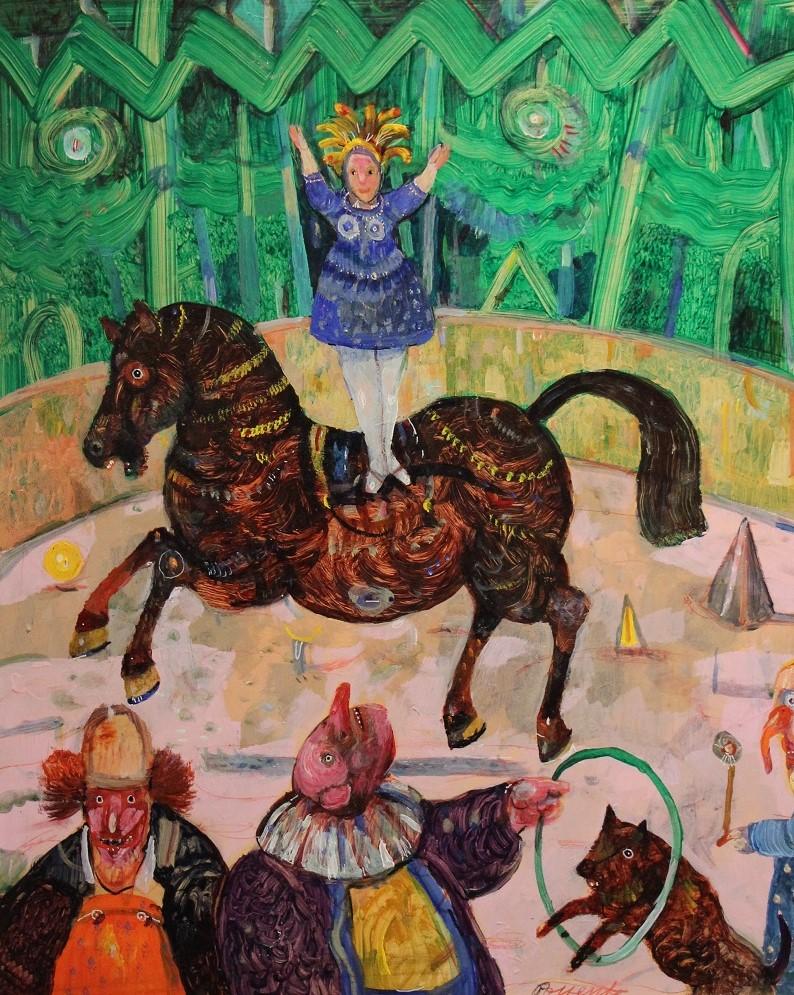 """Un circo"" dipinto su tavola cm. 40x50"