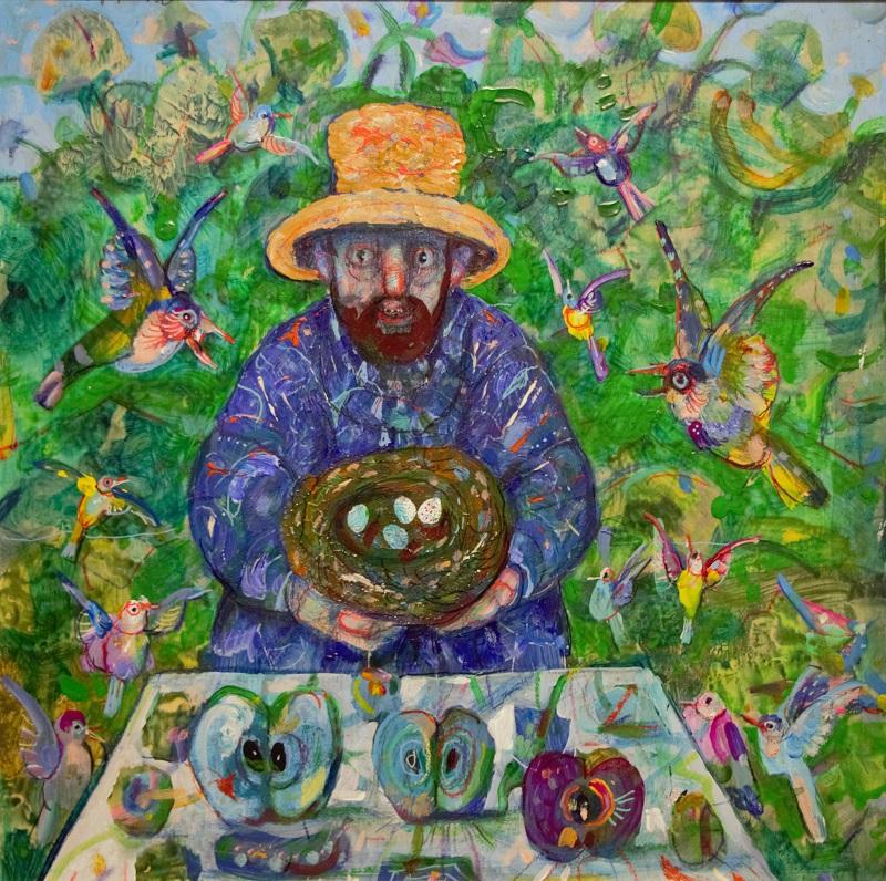 """""""Un ladro di nidi"""" dipinto su tavola cm. 30x30"""