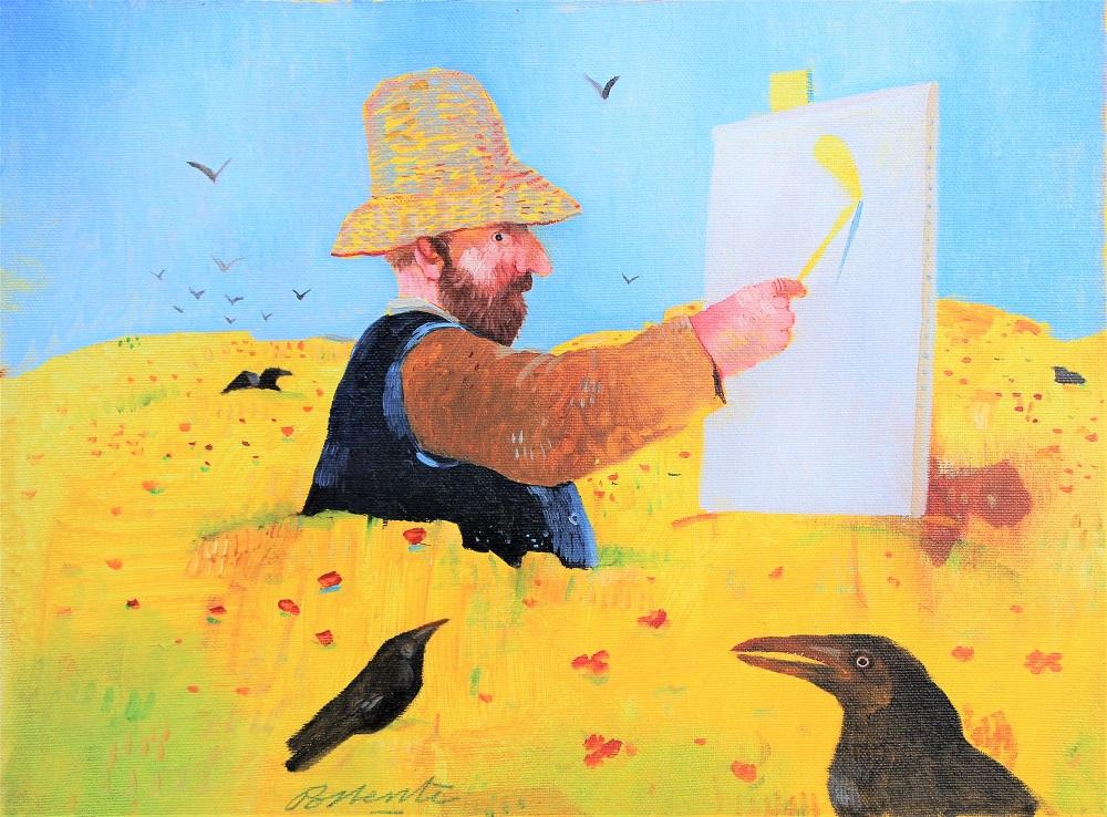 """""""Vincent nel grano"""" olio su tela cm. 30x40"""