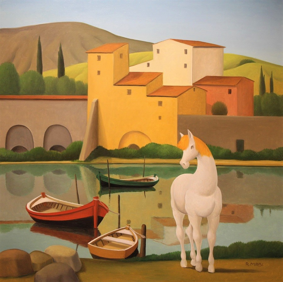 """""""Barche e cavallo sull'Arno"""" olio su tela cm. 80x80"""