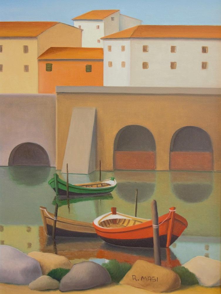 """""""Barche all'Incisa"""" olio su tela cm. 40x30"""