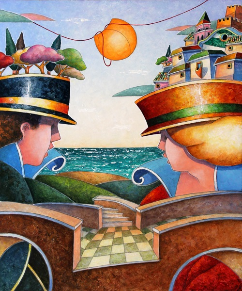 """""""Il ponte che unisce"""" dipinto su tavola cm. 60x50"""