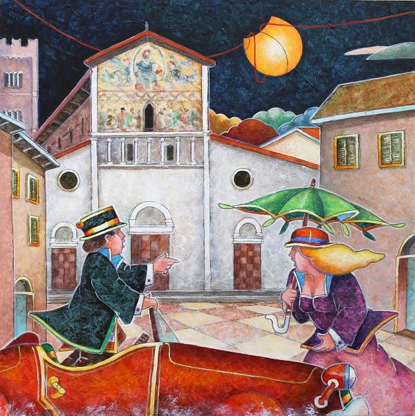 """""""Un angolo particolare"""" dipinto su tavola cm.  40x40"""