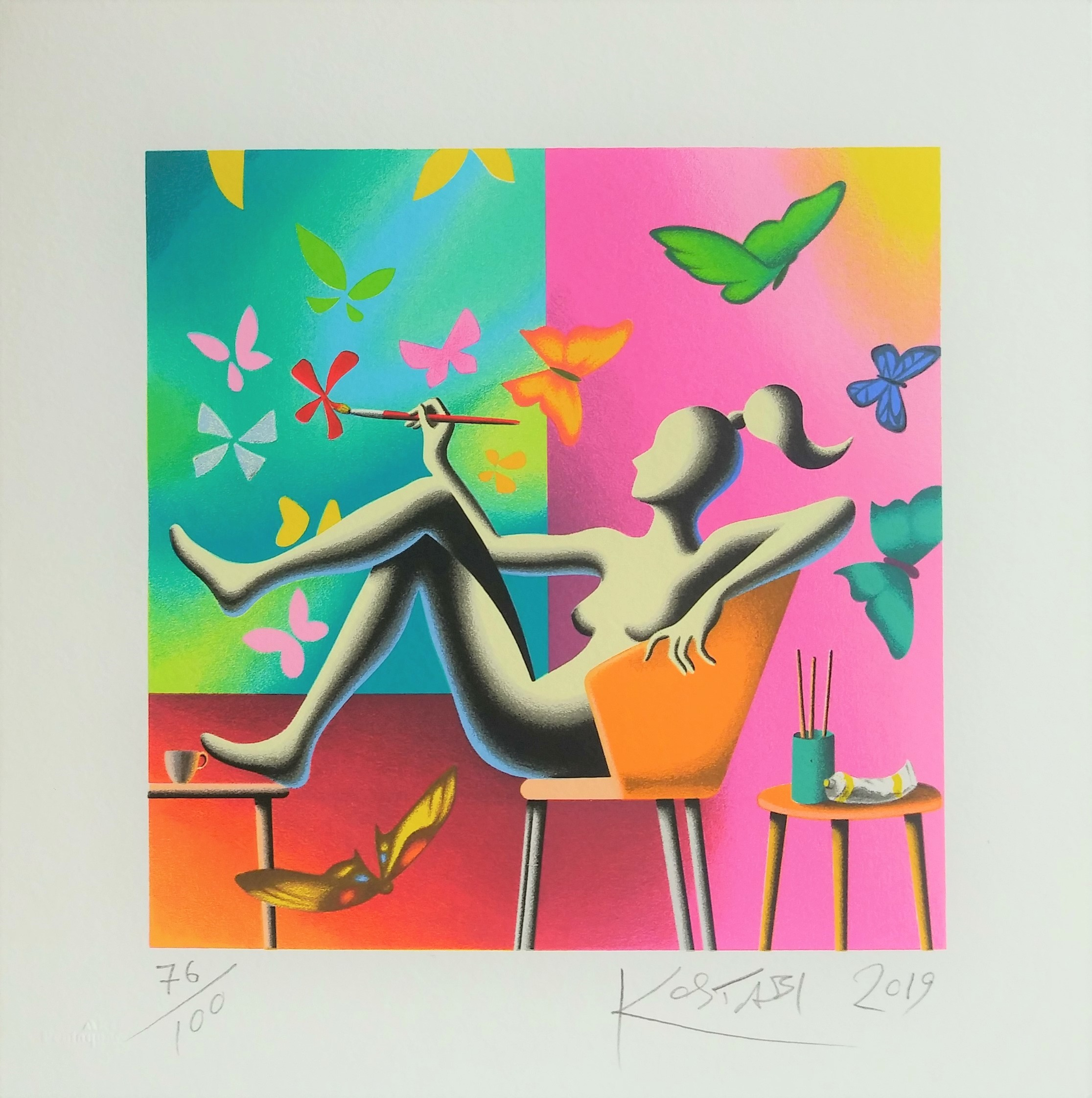 """Flight of fantasy"" serigrafia polimaterica cm. 35x35"