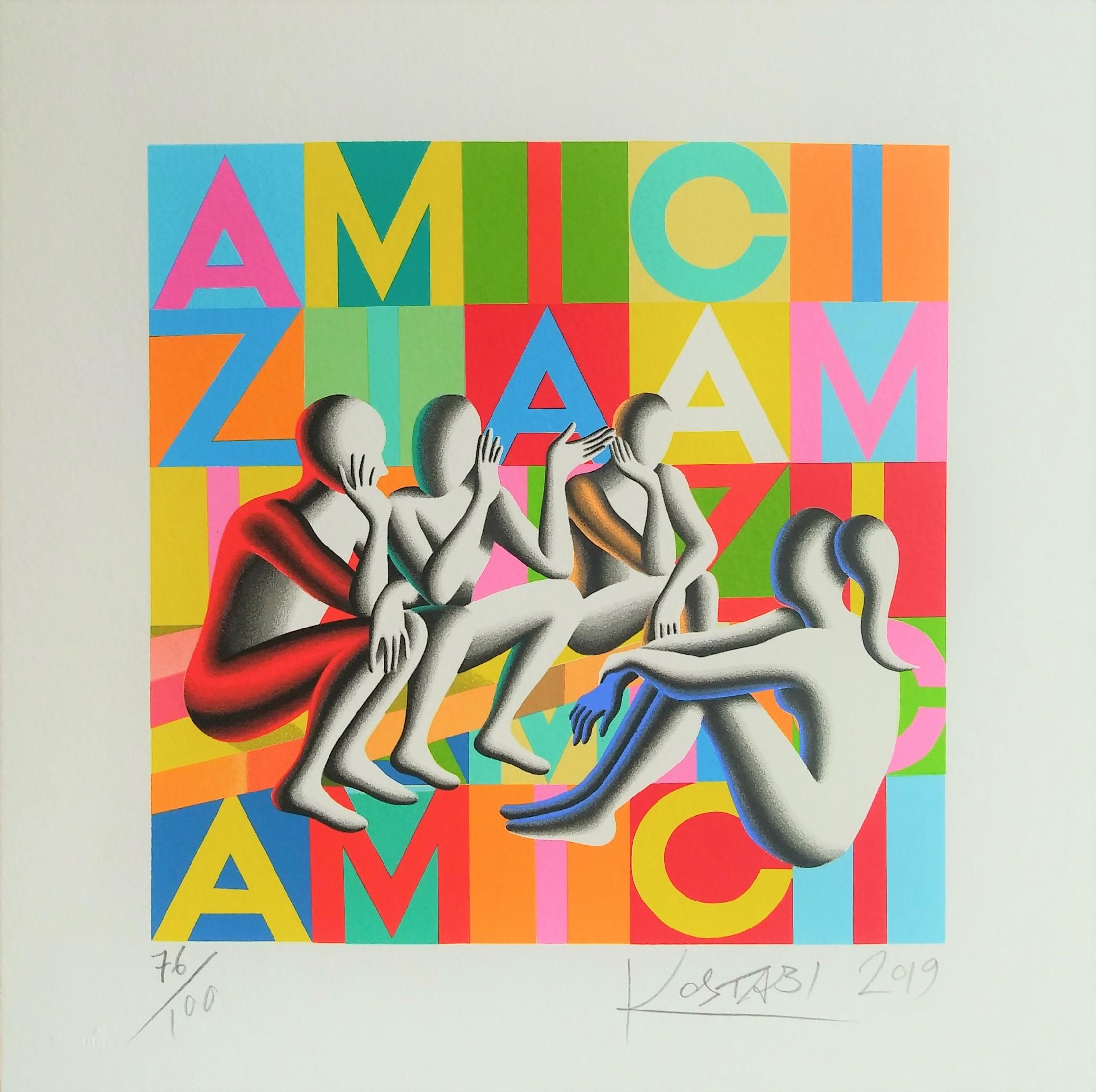 """Gossip club"" serigrafia polimaterica cm. 35x35"