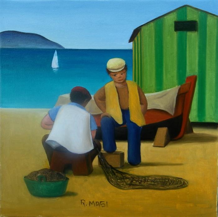 """""""Racconti di pesca"""" dipinto su tela cm 25x25"""