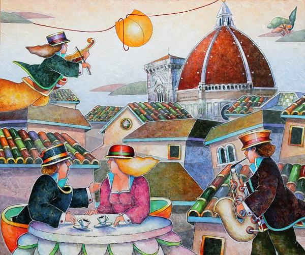"""Caffè tra i tetti"" dipinto su tavola cm. 50x60"