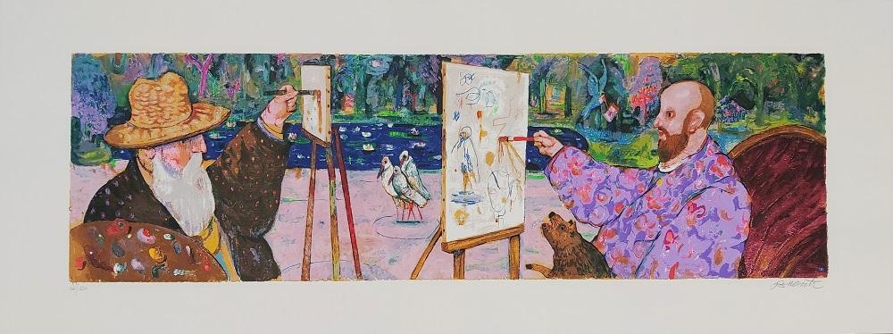 """A Giverny"" serigrafia polimaterica cm. 45x120"