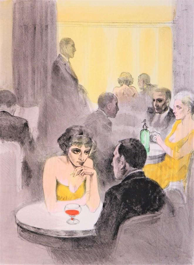 """""""Al bar"""" litografia cm. 60x80"""