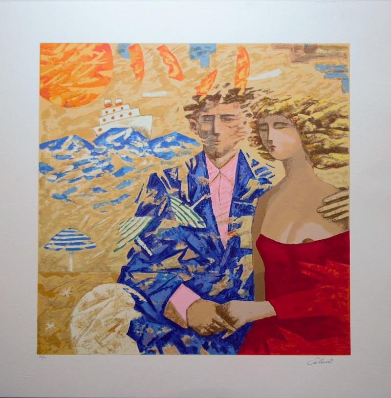 """Amanti marini"" serigrafia polimaterica cm. 70x70"