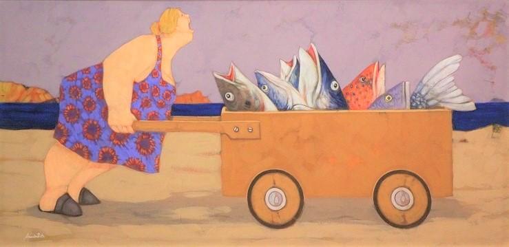 """""""Anche i pesci certe volte urlano"""" dipinto su tela cm. 50x100"""