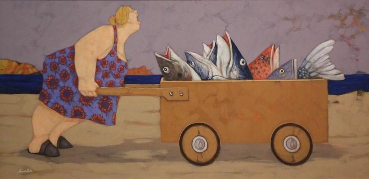"""""""Anche i pesci, certe volte urlano""""  dipinto su tela cm. 50x100"""