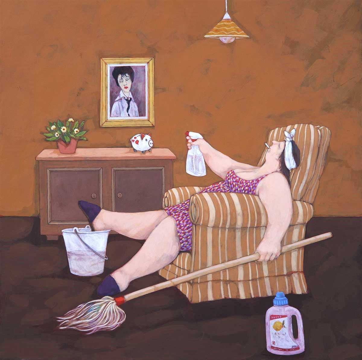 """""""Anche le casalinghe certe volte sbracano"""" dipinto su tela cm. 70x70"""