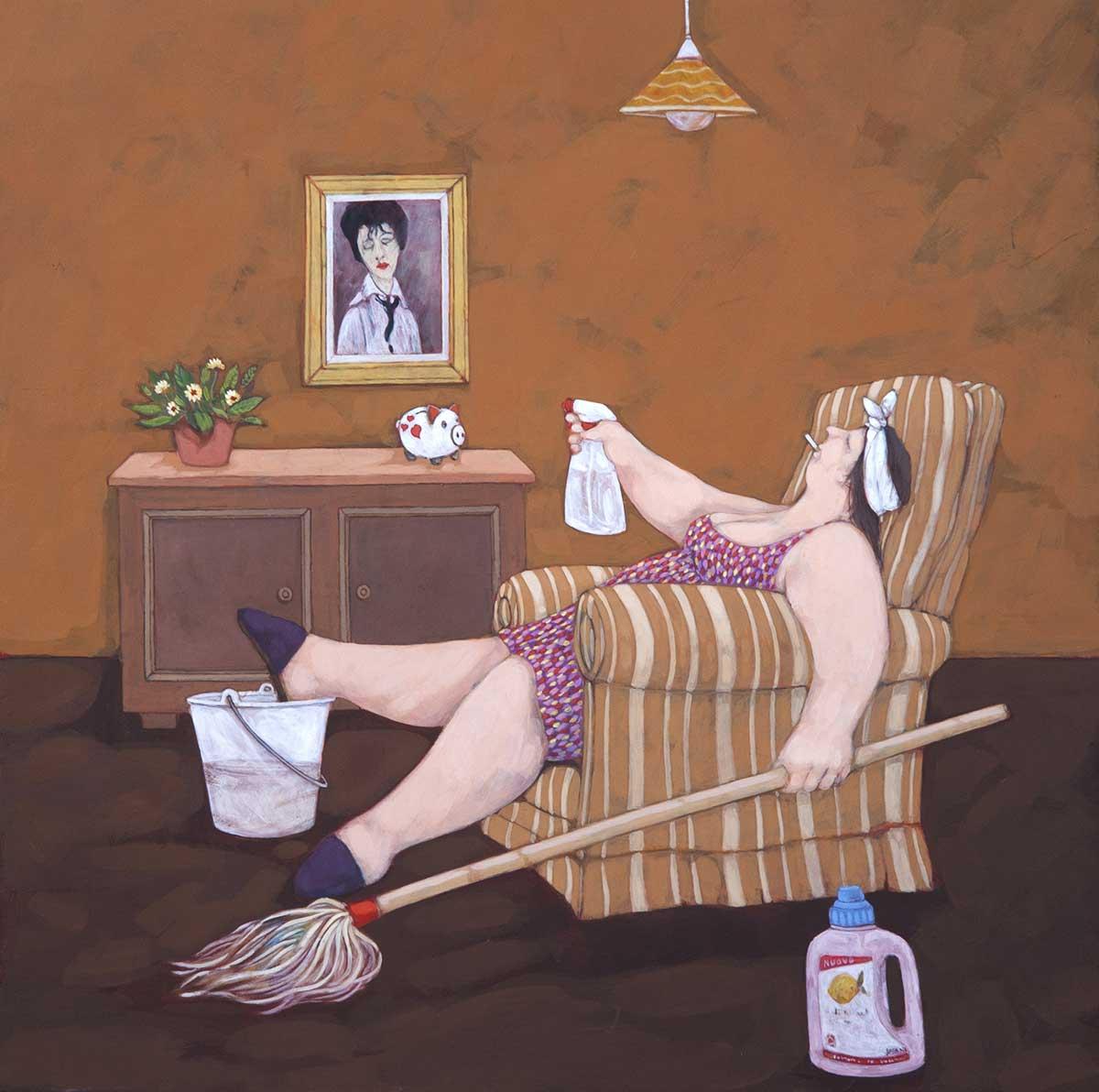 """""""Anche le casalinghe, certe volte, sbracano"""" dipinto su tela cm. 70x70"""