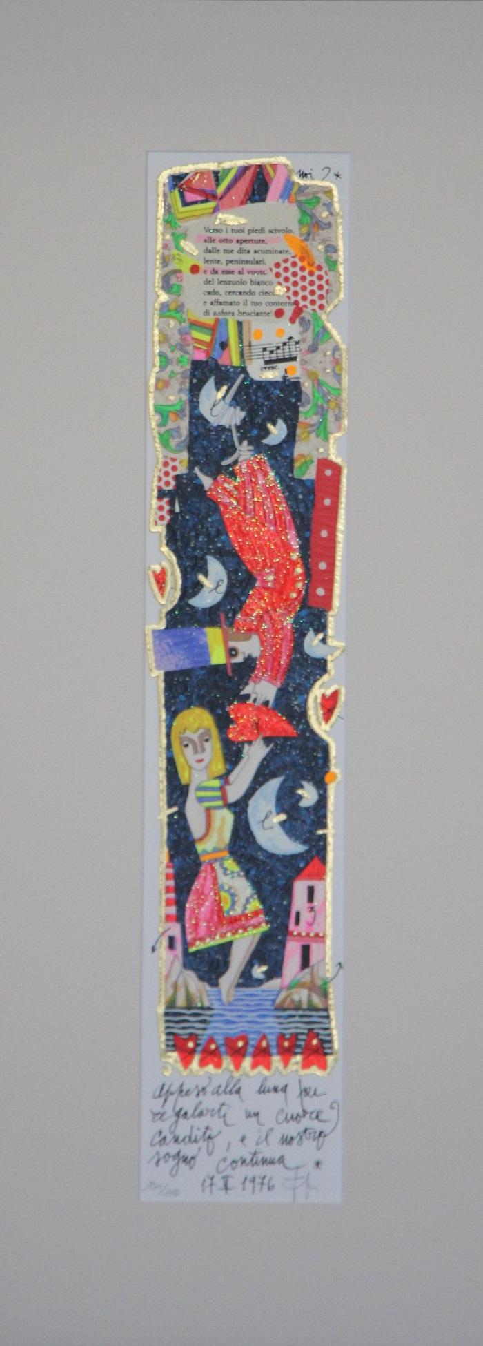 """""""Appeso alla luna..."""" serigrafia polimaterica con interventi in glitter cm. 10x50"""