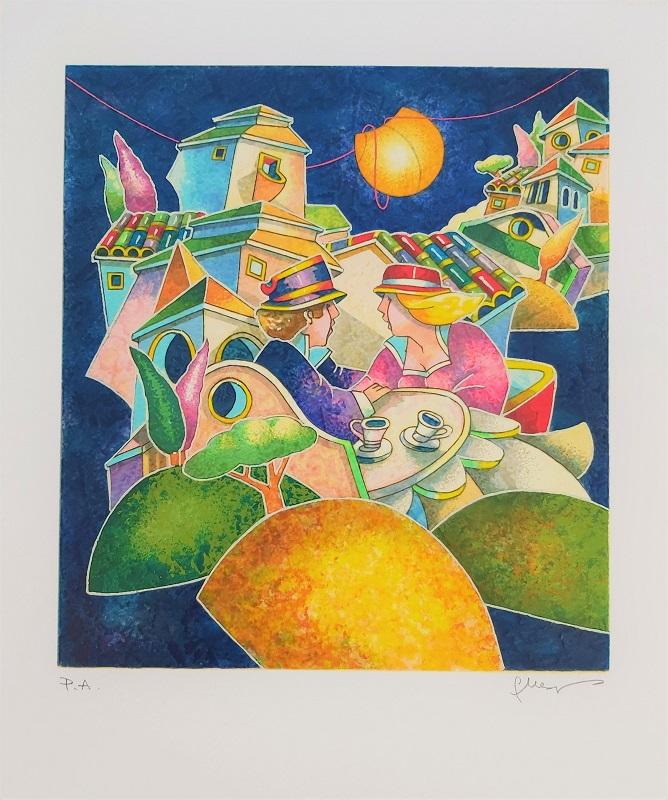 """""""Avvolti dalla notte"""" serigrafia polimaterica cm. 36x30"""