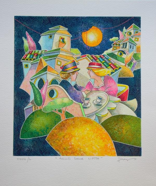 """""""Avvolti dalla notte"""" serigrafia polimaterica cm. 36x30,5"""