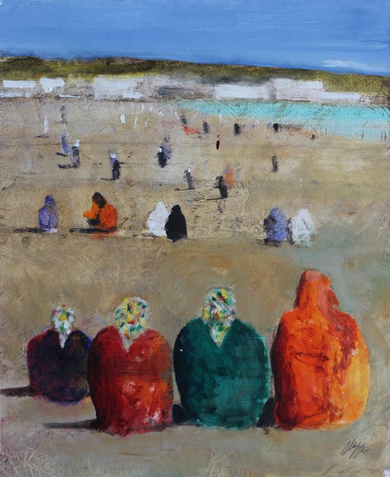 """Bagnanti arabe"" olio su tavola cm 61x50"