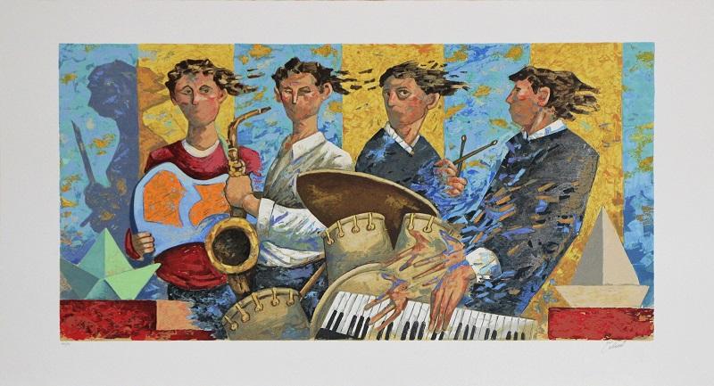 """Blues Band"" serigrafia polimaterica cm. 65x120"