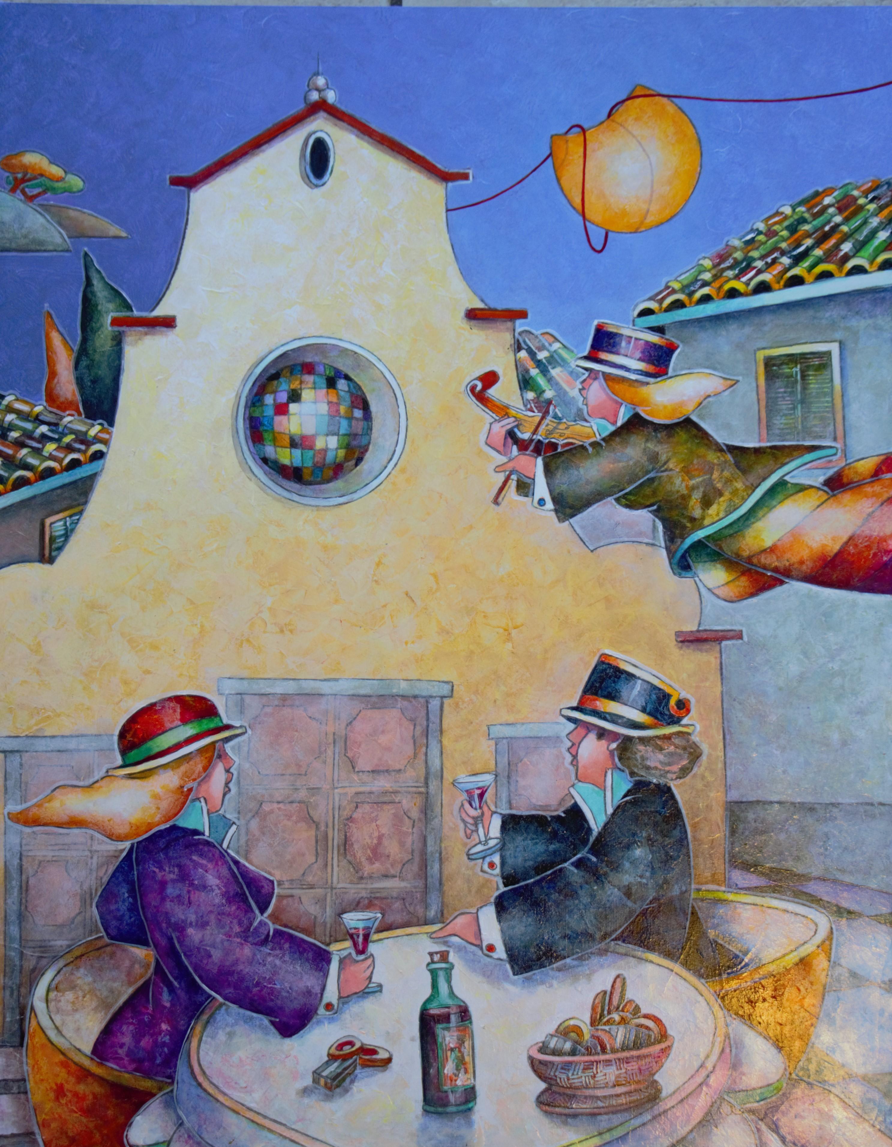 """Brindisi di un amore"" dipinto su tavola cm. 50x40"
