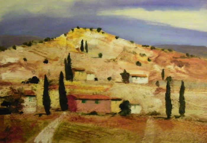 """""""Campagna Toscana"""" dipinto su tavola cm. 50x35"""