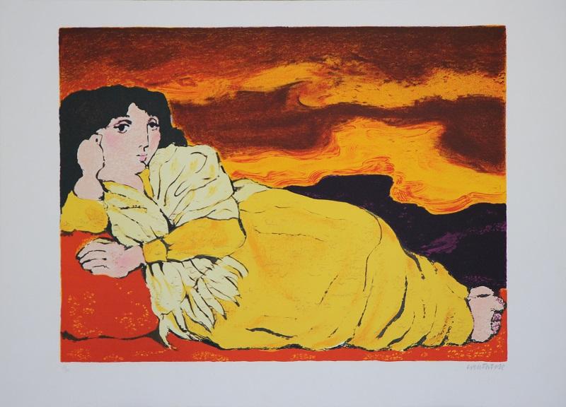 """""""Riposo"""" litografia  cm. 88x64"""