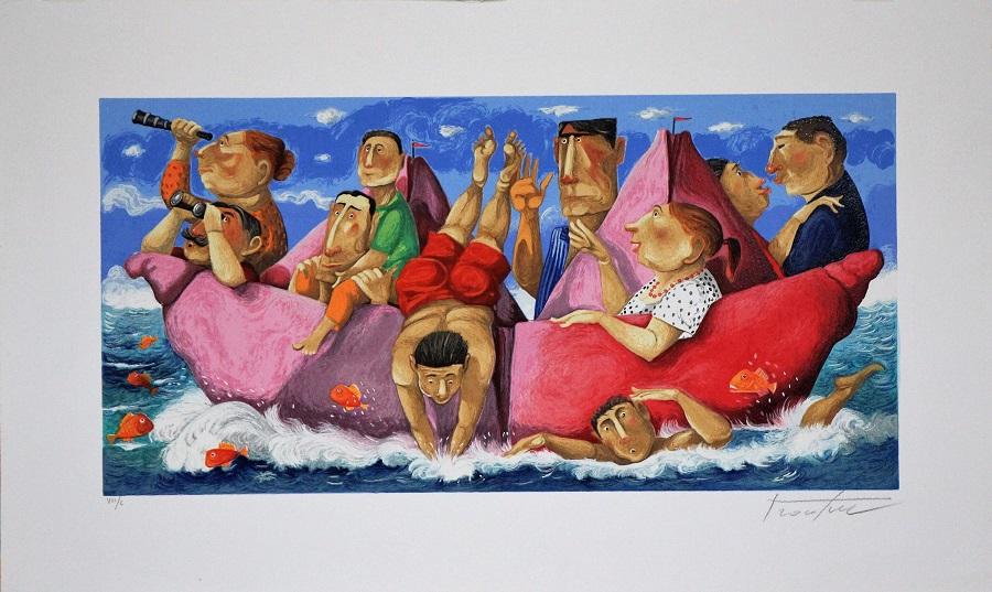 """Caraibi"" serigrafia polimaterica cm. 45x75"