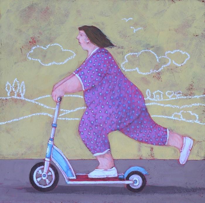"""""""Casalinghe in movimento"""" dipinto su tavola cm. 20x20"""
