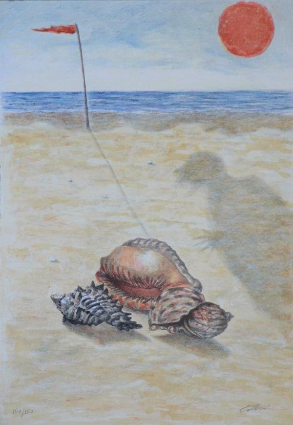 """Cercatore di conchiglie"" litografia cm. 34x47"