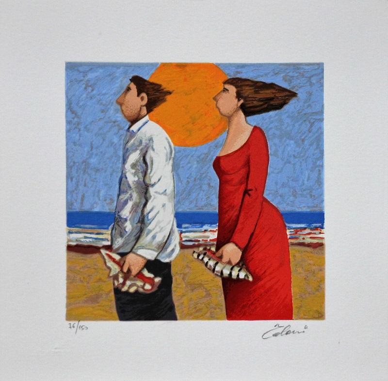 """""""Cercatori di conchiglie"""" serigrafia polimaterica cm. 30x30"""