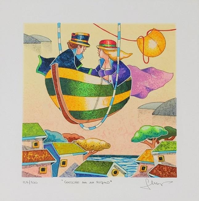 """""""Coccole in un sogno"""" serigrafia polimaterica cm. 25x25"""