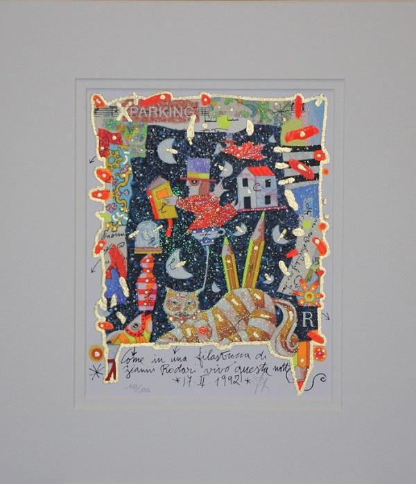 """""""Come in una filastrocca di Gianni Rodari"""" serigrafia polimaterica con interventi in glitter cm.26x21"""