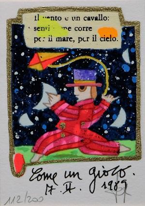 """""""Come un gioco"""" serigrafia polimaterica con interventi in glitter cm.10x7"""