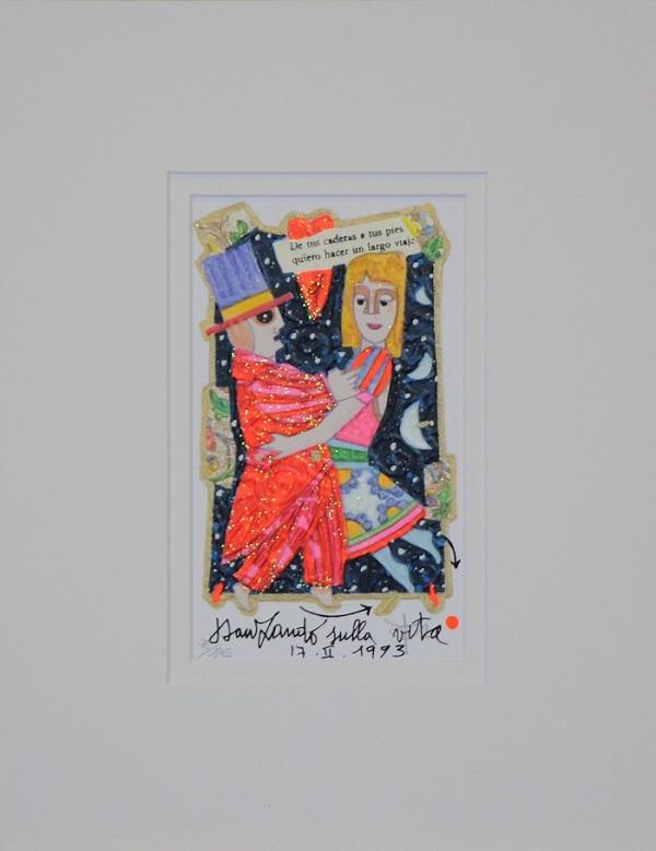 """""""Danzando sulla vita""""serigrafia polimaterica con interventi in glitter  cm.17x11"""