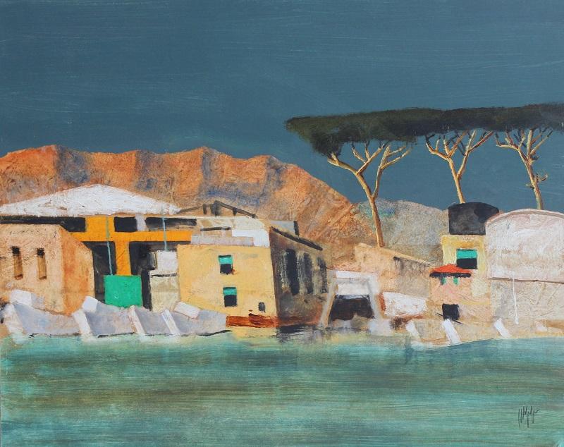"""Darsena a Viareggio"" olio su tavola cm 40x50"