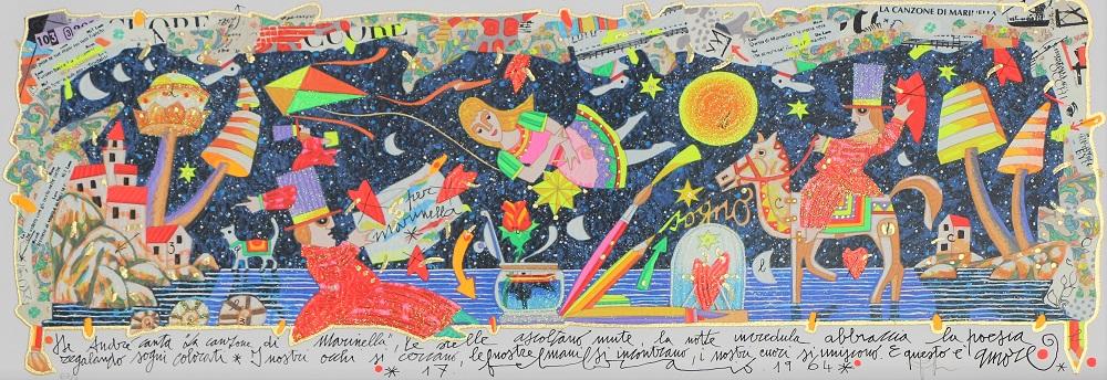 """""""De Andrè canta la canzone di Marinella"""" serigrafia polimaterica cm. 25x70"""