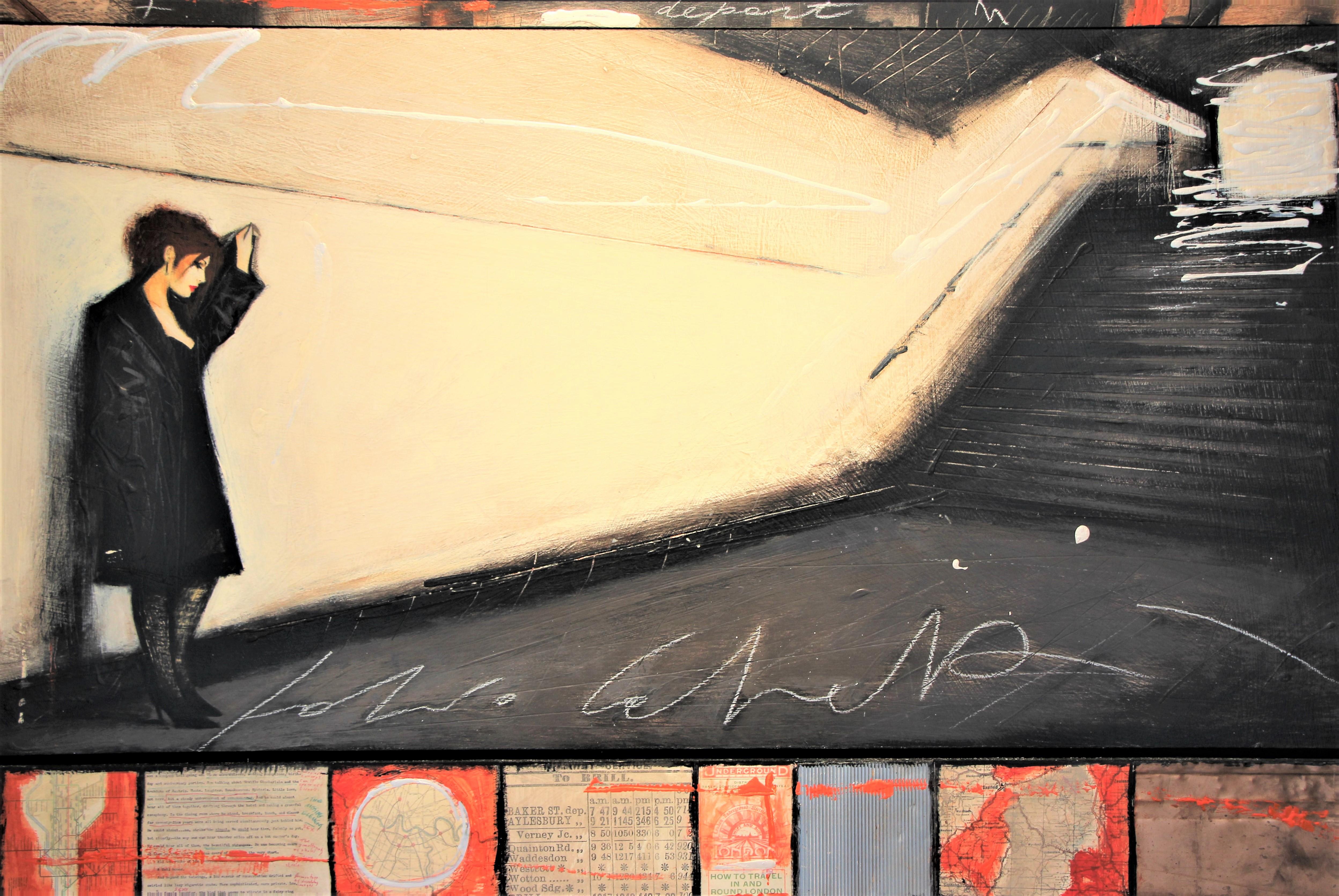 """""""Depart"""" olio su tavola, metallo, collage cm. 80x120"""
