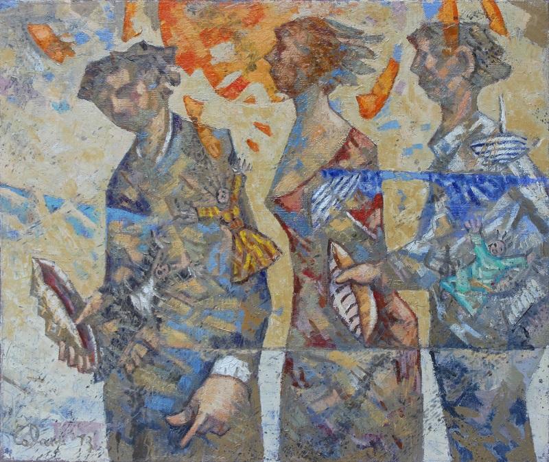 """""""Tre ombre con la conchiglia"""" olio su iuta cm. 65x55"""
