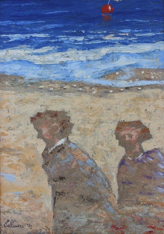 """""""Due ombre sulla spiaggia"""" olio su tavola cm. 35x25"""
