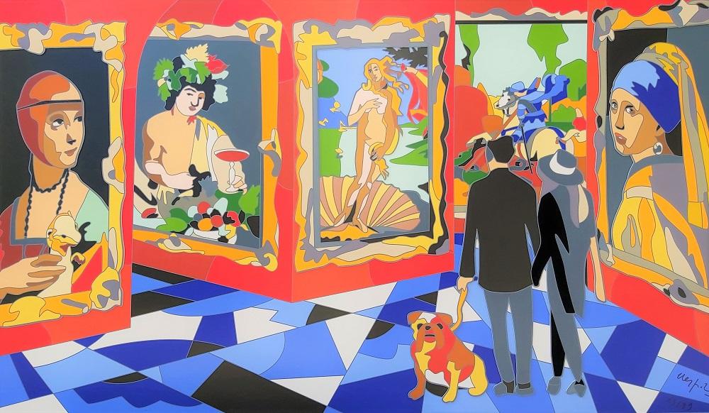 """""""Divina proporzione"""" serigrafia su cartoncino con interventi in collage, floccaggio e glitter cm. 80x140"""
