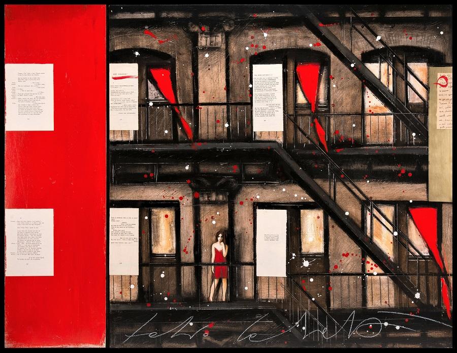 """""""Dois dialogos"""" (Omaggio a Pessoa) dipinto su tavola e collage cm. 100x130"""