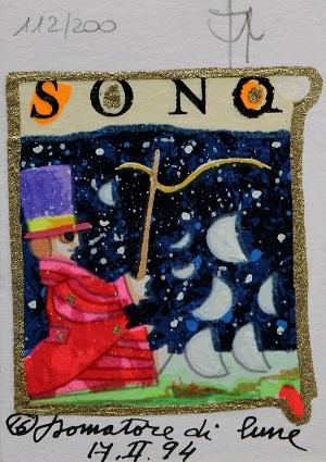"""""""Domatore di lune"""" serigrafia polimaterica con interventi in glitter cm.10x7"""