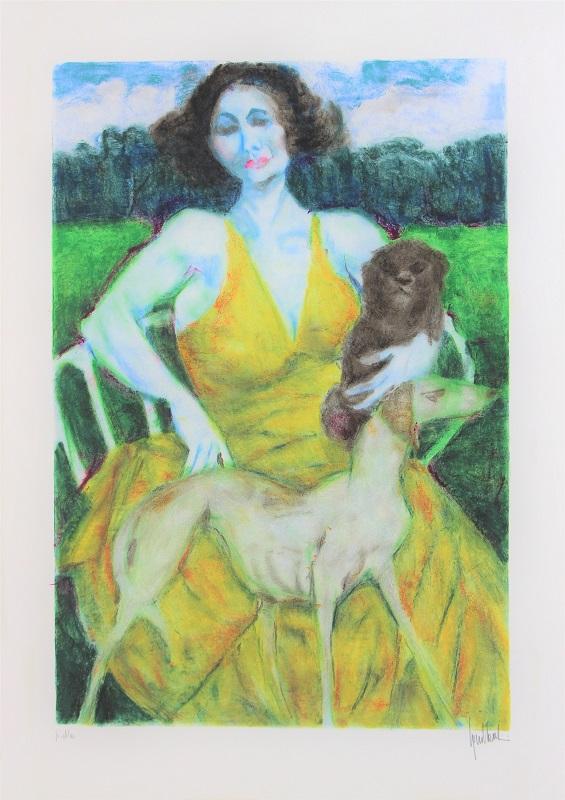 """""""Donna con Levriero"""" litografia cm. 70x50"""