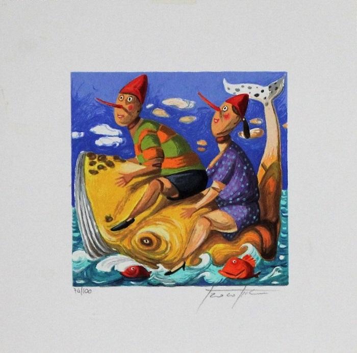 """""""Due burattini e una balena"""" serigrafia polimaterica cm. 25x25"""