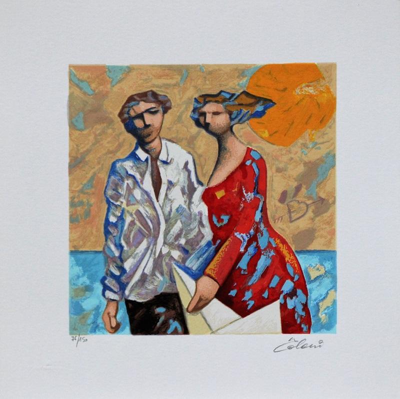 """Due ombre insieme"" serigrafia polimaterica cm. 30x30"